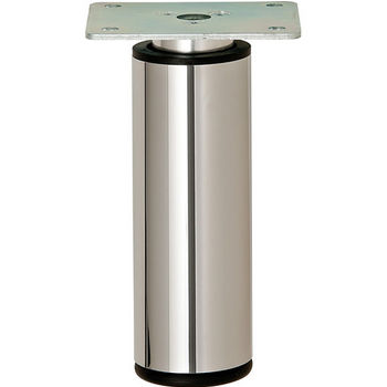 """Hafele Height Adjustable Foot, Round, Polished Chrome, 100mm (3-15/16"""") H"""