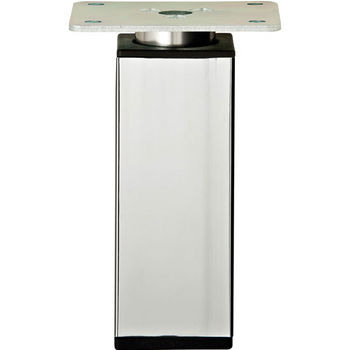 """Hafele Height Adjustable Foot, Square, Polished Chrome, 92mm (3-5/8"""") H"""