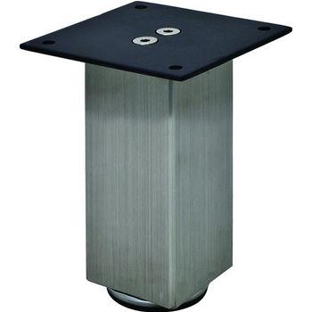 "Hafele Mini Square Table Leg, Stainless Steel, 50mm Dia., 100mm H (2"" Dia., 4""H)"