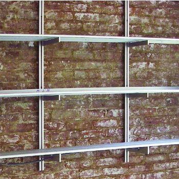 "Hafele 21C Wall and Sta-Pole System Shelf, Aluminum Matt, 2' Length, 10"" Deep"