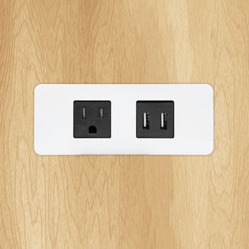 Hafele Dock 1100 Flush Mount Power/Data Module, with 1 tamper resistant outlet and 2 USB 4.2A ports, Black