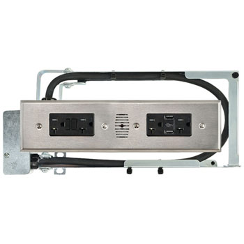 Hafele Docking Drawer Style Blade Duo, with 2 USB and 4 AC 20 Amp GFCI Outlets, Stainless Steel
