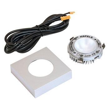 Hafele LOOX 12V #2025 Square Puck Light Kit with 1 LED, 90 CRI