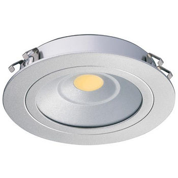 Hafele HA-833.75.040 Loox LED 24V 3010 3.25W Warm, Daylight or Cool White 3000K - 6000K Round Recessed, Aluminum, Silver Colored Anodized