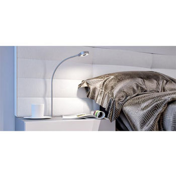 Hafele HA-833.77.000 Loox LED 24V 3018 Goose Neck Recessed Mount 2.5W Cool White 4000K, Plastic, Silver Colored