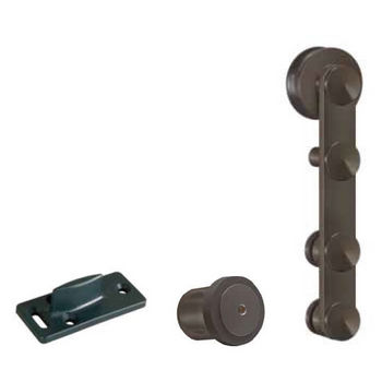 Hafele Antra I Sliding Door Hardware for Wood Doors Up to 220 lbs. each, with Solid Stainless Steel Track, Dark Bronze