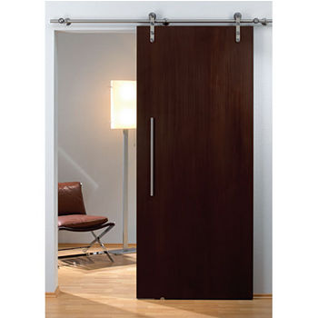 Hafele Flatec I Sliding Door Hardware for Wood Doors Up to 220 lbs. each, with Solid Stainless Steel Track, Matt Stainless