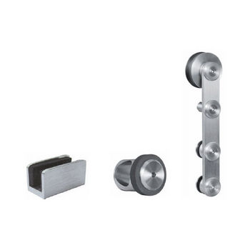 Hafele Flatec IV Sliding Door Hardware for Glass Doors Up to 220 lbs. each, with Hollow Stainless Steel Track, Matt Stainless