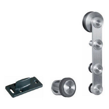 Hafele Flatec IV Sliding Door Hardware for Wood Doors Up to 220 lbs. each, with Hollow Stainless Steel Track, Matt Stainless