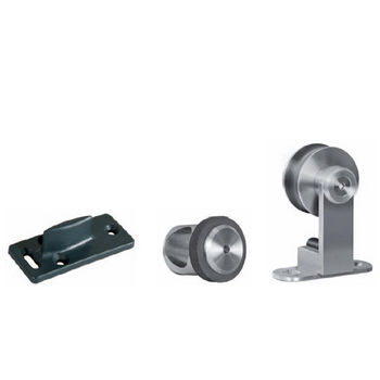 Hafele Flatec V Sliding Door Hardware for Wood Doors Up to 220 lbs. each, with Hollow Stainless Steel Track, Matt Stainless