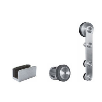 Hafele Project Sliding Door Hardware for Glass Doors Up to 220 lbs. each, with Hollow Stainless Steel Track, Matt Stainless