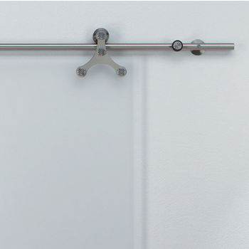 Hafele Tritec Sliding Door Hardware for Glass Doors Up to 220 lbs. each, with Solid Stainless Steel Track, Matt Stainless
