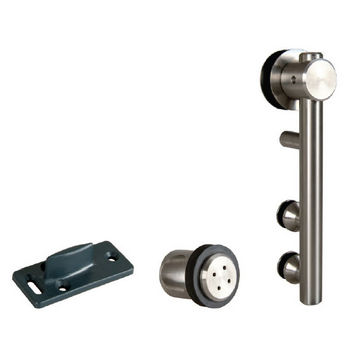 Hafele Unotec Home Sliding Door Hardware for Wood Doors Up to 220 lbs. each, with Solid Stainless Steel Track, Matt Stainless