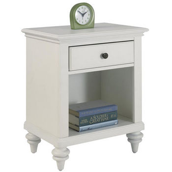 Home Styles Bermuda Night Stand, Brushed White Finish