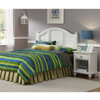 Home Styles Bermuda Queen Headboard & Night Stand, Brushed White Finish