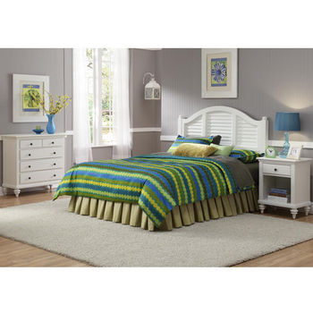 Home Styles Bermuda Queen Headboard, Night Stand, & Chest, Brushed White Finish
