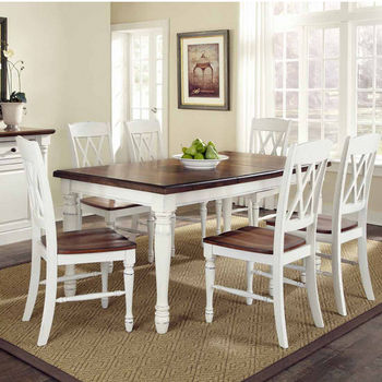Home Styles Monarch Rectangular 7 Pc. Dining Set With Dining Table And Six  Double X Back Chairs, Oak And White,.