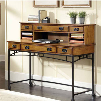 Home Styles Modern Craftsman Executive Desk and Hutch, Distressed Oak and Deep Brown
