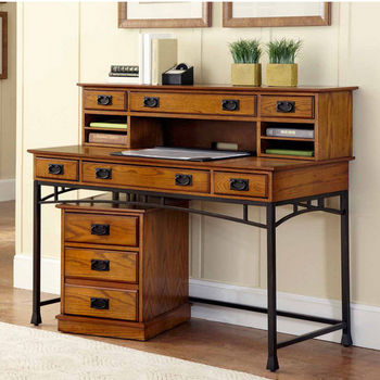 Home Styles Modern Craftsman Executive Desk, Hutch and Mobile File, Distressed Oak and Deep Brown