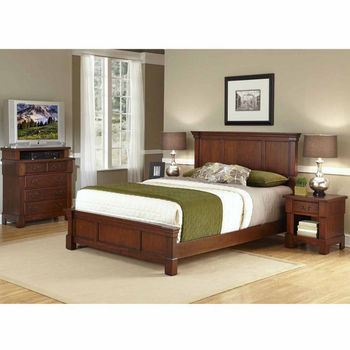 Home Styles The Aspen Collection Queen/Full Headboard, Media Chest, and Night Stand, Rustic Cherry