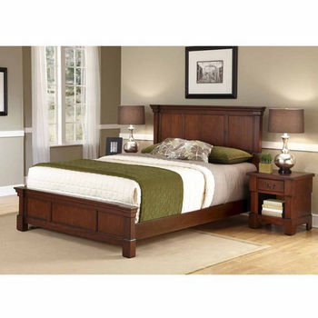 Home Styles The Aspen Collection Queen Bed and Night Stand, Rustic Cherry