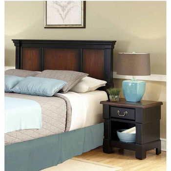 Home Styles The Aspen Collection Queen/Full Headboard and Night Stand, Rustic Cherry and Black