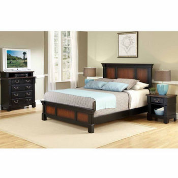 Home Styles The Aspen Collection Queen Bed, Media Chest, and Night Stand, Rustic Cherry and Black