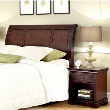 Home Styles Lafayette Queen/Full Sleigh Headboard and Night Stand, Rich Cherry