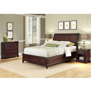 Home Styles Lafayette Queen/Full Sleigh Headboard, Night Stand, and Drawer Chest, Rich Cherry