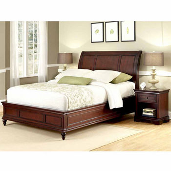 Home Styles Lafayette Queen Sleigh Bed and Night Stand, Rich Cherry