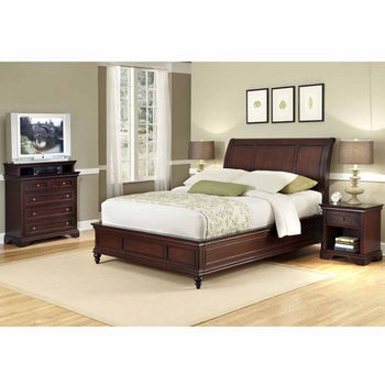 Home Styles Lafayette Queen Sleigh Bed, Night Stand, and Chest, Rich Cherry
