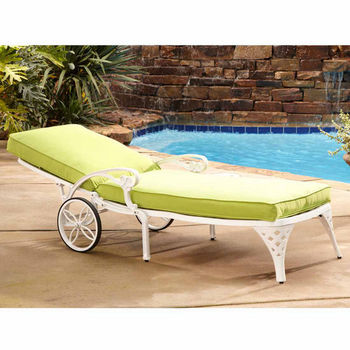 Home Styles Biscayne Chaise Lounge Chair with Green Apple Cushion, White