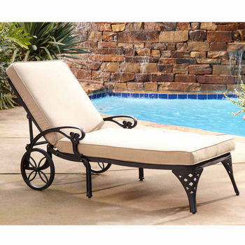Home Styles Biscayne Chaise Lounge Chair with Taupe Cushion, Black