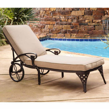 Home Styles Biscayne Chaise Lounge Chair with Taupe Cushion, Bronze