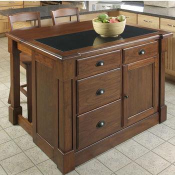 "Home Styles Aspen Kitchen Island w/ Hidden Drop Leaf Support/ Granite Top & Two Bar Stools, Rustic Cherry Finish, 48""W x 26-3/4""D x 36""H"