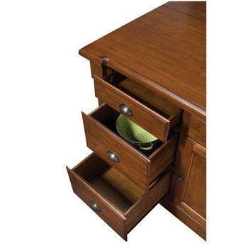 "Home Styles Aspen Kitchen Island w/ Hidden Drop Leaf Support/ Granite Top, Rustic Cherry Finish, 48""W x 26-3/4""D x 36""H"