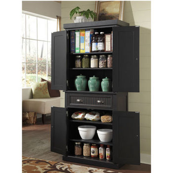 Home Styles Nantucket Pantry, Distressed Black