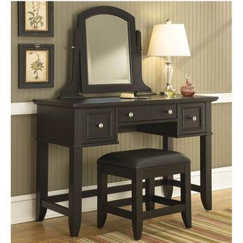 Home Styles Bedford Black Vanity Table, Mirror & Bench