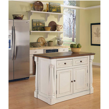 Home Styles Monarch Kitchen Island, Antique White Sanded Distressed Finish