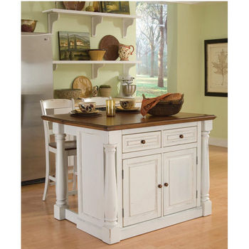 Home Styles Monarch Kitchen Island with Two Stools, Antique White Sanded Distressed Finish