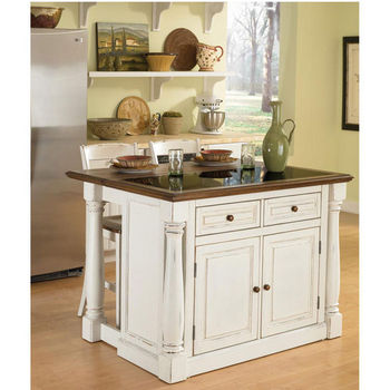 Home Styles Monarch Kitchen Island with Granite Top and Two Stools, Antique White Sanded Distressed Finish
