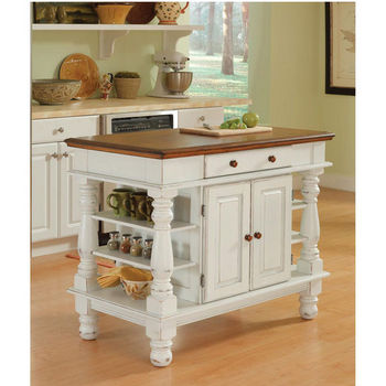 Home Styles Americana Kitchen Island, Antique White Sanded Distressed Finish