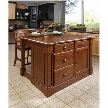 Home Styles Aspen Kitchen Island & Two Stools, Rustic Cherry