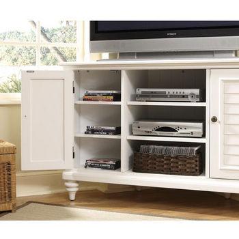Home Styles Bermuda Corner TV Stand, Textured Brushed White