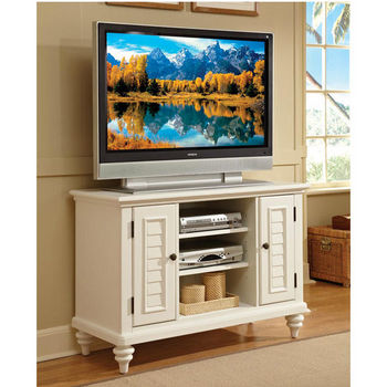 Home Styles Bermuda TV Stand, Textured Brushed White