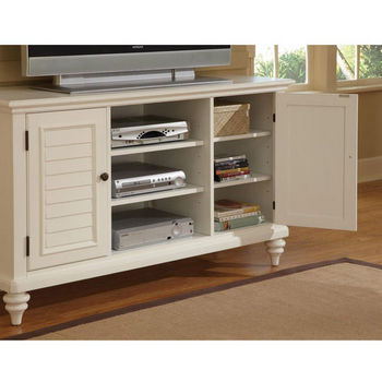 Home Styles Bermuda TV Credenza Stand, Textured Brushed White