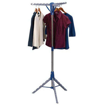 Household Essentials Floor Standing Tripod Air Dryer - Stainless Steel Clad Pole - Plastic Legs/Arms, 3 Arms Holds Up To 36 Hangers