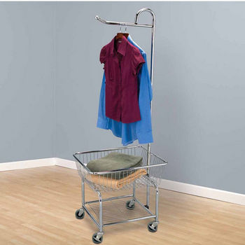 Household Essentials Laundry Butler with Wheels, Chrome