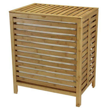 Household Essentials Bamboo Hamper, No Tools, Natural T/C Bag - Packed In Re-Shipper Carton