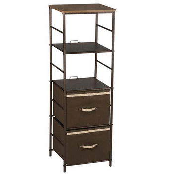 Household Essentials 4 Shelf Storage Tower, Bronze Finish, Hard Top, 4 Cubbies